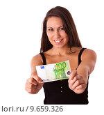 Купить «shine euro bank note 100», фото № 9659326, снято 22 июля 2019 г. (c) PantherMedia / Фотобанк Лори