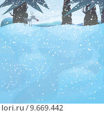 Купить « winter landscape with pine trees and Rudolph», иллюстрация № 9669442 (c) PantherMedia / Фотобанк Лори
