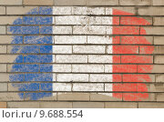 Купить «flag of France on grunge brick wall painted with chalk  », иллюстрация № 9688554 (c) PantherMedia / Фотобанк Лори