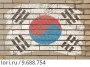 Купить «flag of South Korea on grunge brick wall painted with chalk  », иллюстрация № 9688754 (c) PantherMedia / Фотобанк Лори