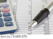 Купить «Calculator and Spreadsheet», фото № 9689070, снято 20 сентября 2018 г. (c) PantherMedia / Фотобанк Лори