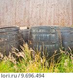 Купить «Group of whiskey barrels  against a stone wall», фото № 9696494, снято 21 июля 2019 г. (c) PantherMedia / Фотобанк Лори