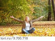 Купить «young woman teenager autumn leaves», фото № 9700718, снято 18 августа 2018 г. (c) PantherMedia / Фотобанк Лори