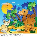 Купить «Desert scene with various animals 1», иллюстрация № 9748954 (c) PantherMedia / Фотобанк Лори