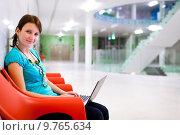 Купить «Pretty young student with laptop on college/university campus», фото № 9765634, снято 8 июля 2020 г. (c) PantherMedia / Фотобанк Лори