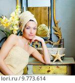 Купить «beautiful woman bathroom portrait with towel», фото № 9773614, снято 19 ноября 2018 г. (c) PantherMedia / Фотобанк Лори