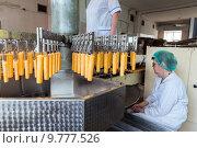 Купить «Автоматическая линия по производству мороженого и фруктового льда», фото № 9777526, снято 24 апреля 2015 г. (c) Евгений Ткачёв / Фотобанк Лори