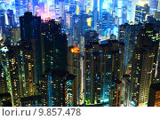 Купить «Hong Kong with crowded buildings at night», фото № 9857478, снято 16 декабря 2018 г. (c) PantherMedia / Фотобанк Лори