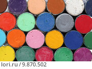 Купить «Round oil pastels crayons », фото № 9870502, снято 19 марта 2019 г. (c) PantherMedia / Фотобанк Лори