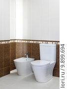 Купить «Bidet and toilet seat in new bathroom», фото № 9899694, снято 21 марта 2019 г. (c) PantherMedia / Фотобанк Лори
