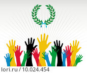Купить «Olympics hands colours laurel wreath», иллюстрация № 10024454 (c) PantherMedia / Фотобанк Лори