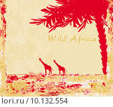 Купить «grunge background with African fauna and flora      », иллюстрация № 10132554 (c) PantherMedia / Фотобанк Лори