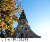 Шпиль собора Святого Петра, Рига (2013 год). Стоковое фото, фотограф Тимофеева Алина / Фотобанк Лори