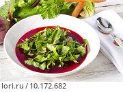 Купить «Vegetable soup from young, fresh sheets of the beetroot», фото № 10172682, снято 18 июля 2019 г. (c) PantherMedia / Фотобанк Лори