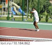 Купить «young man play tennis outdoor», фото № 10184862, снято 27 апреля 2018 г. (c) PantherMedia / Фотобанк Лори
