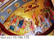 Купить «Фреска Распятие Христа на стенах церкви Собора Двенадцати Апостолов в Копернауме», фото № 10186170, снято 14 мая 2014 г. (c) Александр Гаценко / Фотобанк Лори
