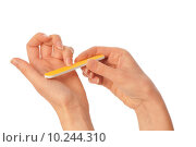 Купить «woman files her nails by emery board from manicure set», фото № 10244310, снято 16 декабря 2017 г. (c) PantherMedia / Фотобанк Лори
