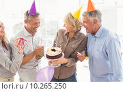 Купить «Laughing casual business people celebrating birthday», фото № 10265250, снято 5 мая 2015 г. (c) Wavebreak Media / Фотобанк Лори
