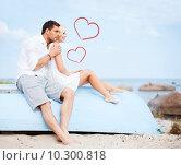Купить «couple sitting on boat at sea side», фото № 10300818, снято 14 июля 2013 г. (c) Syda Productions / Фотобанк Лори