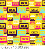 Купить «Retro pop audio tapes pattern», иллюстрация № 10303926 (c) PantherMedia / Фотобанк Лори
