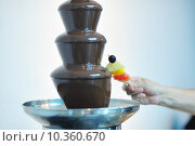 Купить «liquid chocolate fountain and fresh fruits on stick», фото № 10360670, снято 22 апреля 2018 г. (c) PantherMedia / Фотобанк Лори