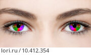 Купить «Woman girl beauty colour eyes», фото № 10412354, снято 20 июля 2018 г. (c) PantherMedia / Фотобанк Лори