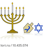 Купить «Cartoon illustration showing a Jewish Hanukkah Menorah, alongside a traditional spinning top and the star of David, reflected on a white background», фото № 10435074, снято 18 июня 2018 г. (c) PantherMedia / Фотобанк Лори