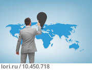 Купить «businessman pointing finger to mark on world map», фото № 10450718, снято 29 января 2015 г. (c) Syda Productions / Фотобанк Лори