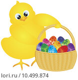 Купить «Easter Chick with Basket of Floral Eggs», иллюстрация № 10499874 (c) PantherMedia / Фотобанк Лори