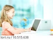 Купить «Typing girl», фото № 10515638, снято 17 августа 2019 г. (c) PantherMedia / Фотобанк Лори
