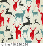 Купить «Christmas wooden reindeer pattern», иллюстрация № 10556054 (c) PantherMedia / Фотобанк Лори
