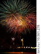 Купить «Firework streaks in the night sky», фото № 10561278, снято 16 сентября 2019 г. (c) PantherMedia / Фотобанк Лори