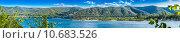 Купить «Панорамный вид горного массива и острова с лагерем туристов», фото № 10683526, снято 26 июля 2015 г. (c) Сергей Лысенко / Фотобанк Лори