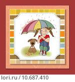 Купить «young pretty girl and her dog, friendship card in vector format», фото № 10687410, снято 17 февраля 2019 г. (c) PantherMedia / Фотобанк Лори