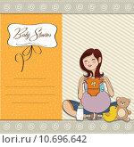 Купить «happy pregnant woman, baby shower card», иллюстрация № 10696642 (c) PantherMedia / Фотобанк Лори