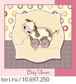 Купить «Baby shower card with cute cow toy», фото № 10697250, снято 20 ноября 2018 г. (c) PantherMedia / Фотобанк Лори
