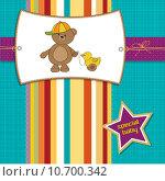 Купить «welcome baby card with boy teddy bear and his duck», фото № 10700342, снято 25 июня 2019 г. (c) PantherMedia / Фотобанк Лори