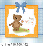 Купить «happy birthday card with teddy bear and flower», фото № 10700442, снято 25 июня 2019 г. (c) PantherMedia / Фотобанк Лори