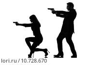 Купить «couple woman man detective secret agent criminal  silhouette», фото № 10728670, снято 20 ноября 2018 г. (c) PantherMedia / Фотобанк Лори