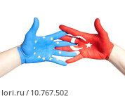 Купить «turkey and european hands holding», фото № 10767502, снято 24 июня 2019 г. (c) PantherMedia / Фотобанк Лори