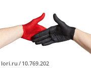 Купить «red and black handshake», фото № 10769202, снято 24 июня 2019 г. (c) PantherMedia / Фотобанк Лори