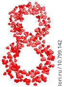 Купить «digit eight consisting of red hearts for March 8», фото № 10799142, снято 25 июня 2019 г. (c) PantherMedia / Фотобанк Лори