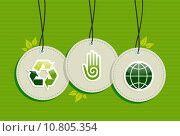 Купить «Hanging green recycle planet earth icons set», иллюстрация № 10805354 (c) PantherMedia / Фотобанк Лори