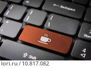 Купить «Orange Coffee cup keyboard key, Food background», фото № 10817082, снято 15 июня 2019 г. (c) PantherMedia / Фотобанк Лори