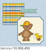 Купить «cute greeting card with boy teddy bear», фото № 10900450, снято 20 ноября 2018 г. (c) PantherMedia / Фотобанк Лори