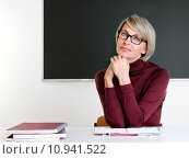 Купить «woman school board classroom teacher», фото № 10941522, снято 21 октября 2018 г. (c) PantherMedia / Фотобанк Лори
