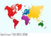 Купить «World map, colorful continents atlas EPS10 vector file.», иллюстрация № 10951558 (c) PantherMedia / Фотобанк Лори