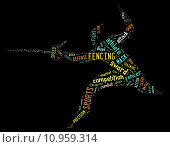 Купить «fencing pictogram with colorful related wordings on black background», фото № 10959314, снято 19 октября 2018 г. (c) PantherMedia / Фотобанк Лори