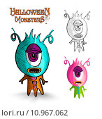 Купить «Halloween monsters one eye creature EPS10 file.», иллюстрация № 10967062 (c) PantherMedia / Фотобанк Лори