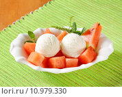 Купить «White ice cream with watermelon», фото № 10979330, снято 16 сентября 2019 г. (c) PantherMedia / Фотобанк Лори